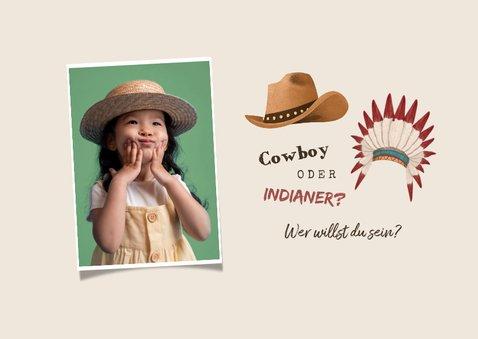 Kindergeburtstag Einladung Cowboy & Indianer 2
