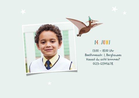 Kindergeburtstag Einladung Dinosaurier, Vogel & Foto 2