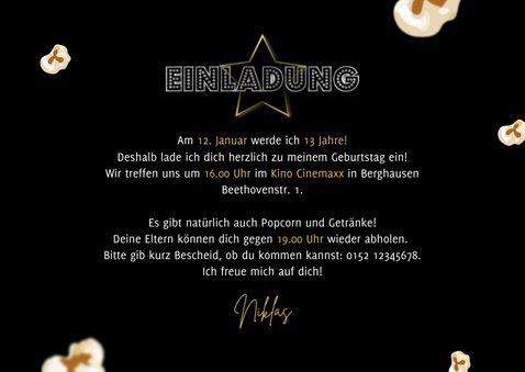 Kindergeburtstag Einladung Filmparty Popcorn 3