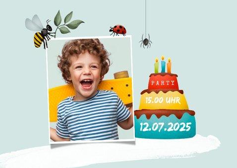 Kindergeburtstags-Einladung Foto & Insekten 2