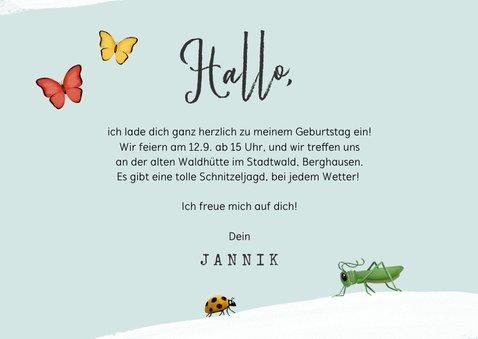 Kindergeburtstags-Einladung Foto & Insekten 3