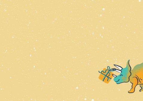Kinderkerstkaart dino's versieren boom Achterkant