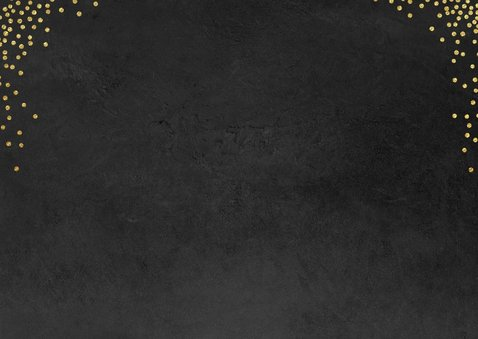Klassieke foto kerstkaart confetti goud op zwart 2