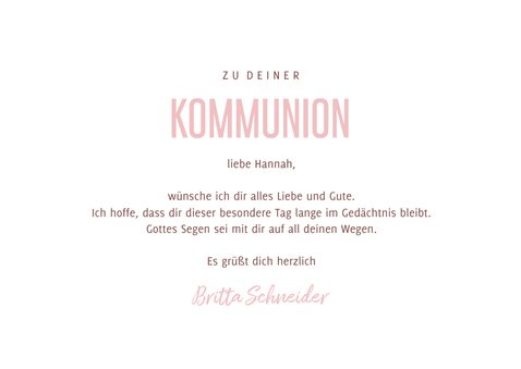 Kommunions-Glückwunschkarte rosa Herzen 3