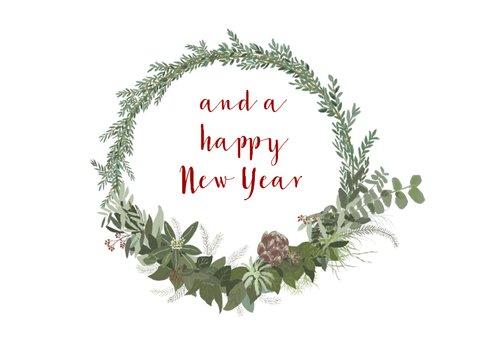 krans met kerst- en nieuwjaarswens  2