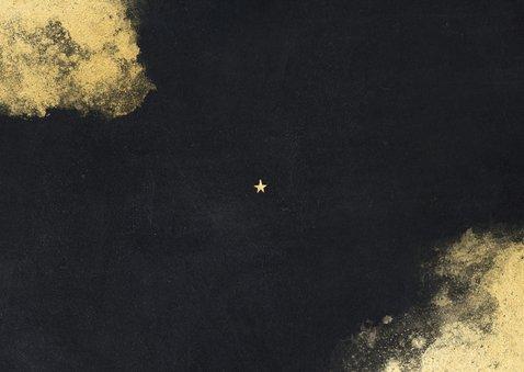 Krijtbordlook fotokaart fijne feestdagen 2021 gouden sterren Achterkant