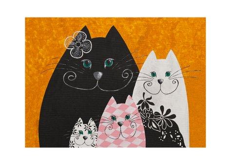 Kunstkaart - Golden katten 2