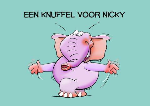 Leuke beterschapskaart met 2 knuffelende olifanten 2