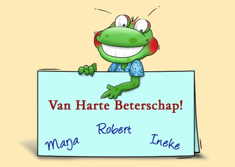 Leuke beterschapskaart met kikker en briefje 3