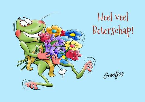 Leuke beterschapskaart met kikkers op waterlelie-bladeren 3