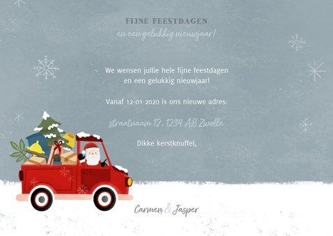 Leuke kerst verhuiskaart met verhuisauto en kerstman 3