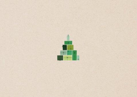 Leuke kerstkaart groene cadeau's en foto op papierlook Achterkant