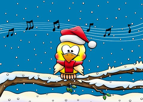 Leuke kerstkaart met 5 zingende vogels op tak in de sneeuw 3