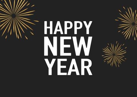 Leuke nieuwjaarskaart met typografie en vuurwerk 2