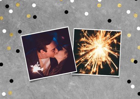 Leuke nieuwjaarskaart met vlaggen, tekst en confetti 2