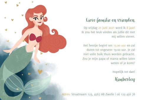Leuke uitnodiging kinderfeestje met zeemeermin en waterverf 3