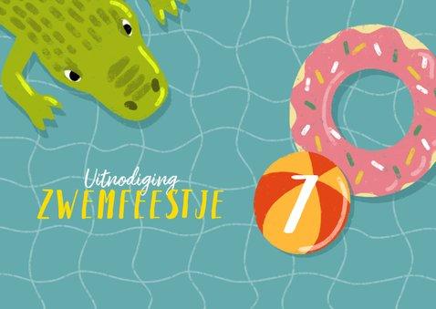Leuke uitnodiging kinderfeestje met zwembanden en krokodil 2
