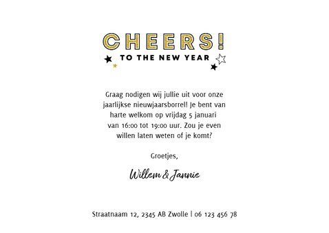 Leuke uitnodiging nieuwjaarsborrel met foto en champagne 3