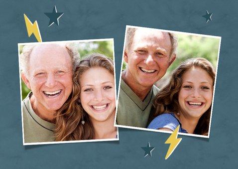 Leuke vaderdag kaart Dad you rock met sterren en eigen foto 2