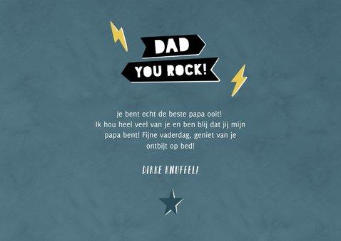 Leuke vaderdag kaart Dad you rock met sterren en eigen foto 3
