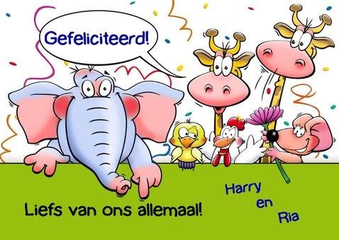Leuke  verjaardagskaart aanpasbaar met grappige dieren 3