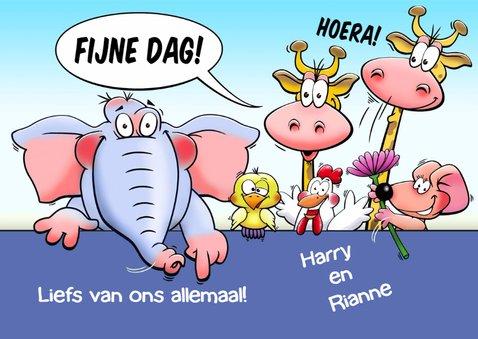Leuke verjaardagskaart met grappige dieren 3