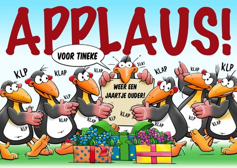 Leuke verjaardagskaart met pinguïns voor een dame 3