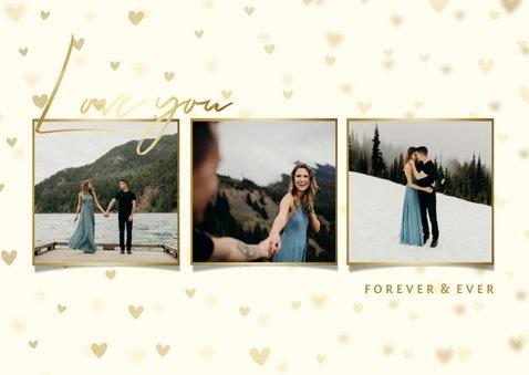 Liebeskarte Goldlook mit drei Fotos und Herzen 2