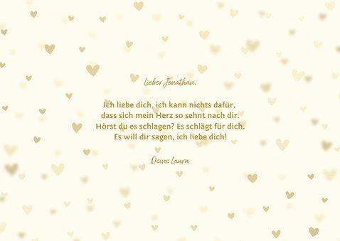 Liebeskarte Goldlook mit drei Fotos und Herzen 3