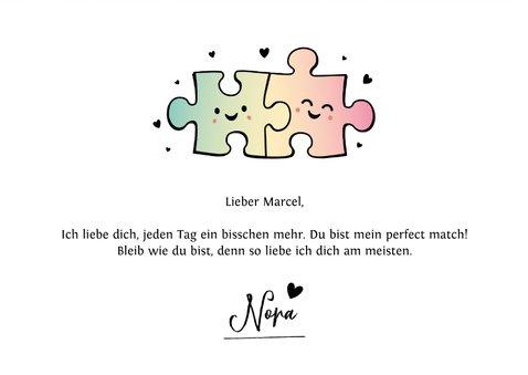 Liebeskarte mit Puzzleteilen und Foto 3
