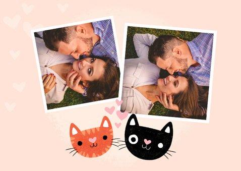 Liebeskarte 'purrfect' mit Foto, Katzen und Herzen 2