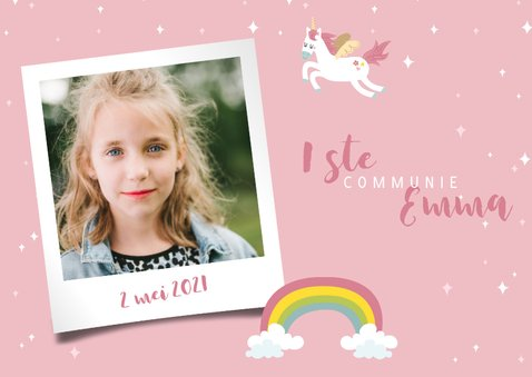 Lief bedankkaartje eerste communie eenhoorns en regenbogen 2