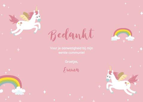 Lief bedankkaartje eerste communie eenhoorns en regenbogen 3