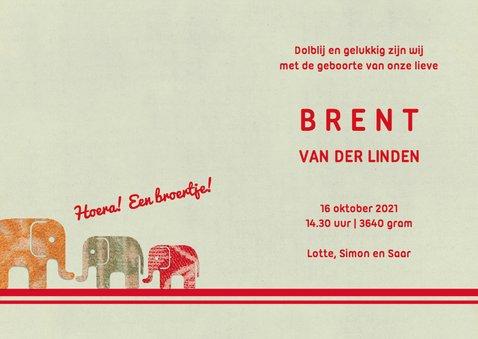 Lief geboortekaartje met een lange rij olifantjes 3