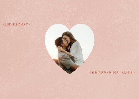 Liefde kaart XOXO hartjes foto's en roze verf 2
