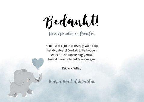 Lieve bedankkaart voor een doopfeest met foto's en olifantje 3