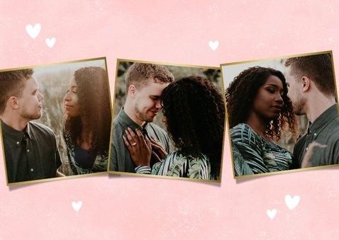 Lieve fotocollage liefdekaart dikke knuffel en hartjes 2