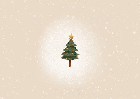 lieve kerstkaart met bosdieren, kerstboom, sneeuw en foto's Achterkant