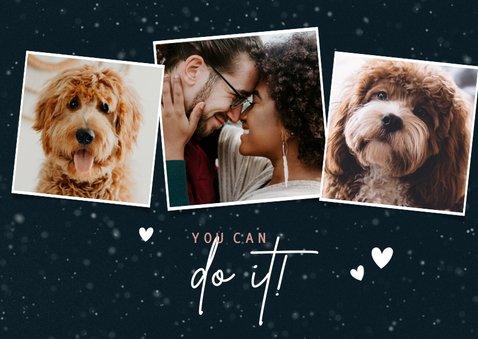Lieve kerstkaart Stay Pawsitive hondenpootje en foto's 2