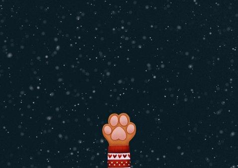 Lieve kerstkaart Stay Pawsitive hondenpootje en foto's Achterkant