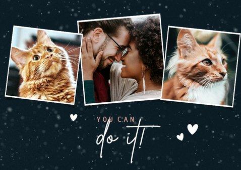 Lieve kerstkaart Stay Pawsitive, kattenpootje en foto's 2