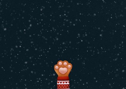 Lieve kerstkaart Stay Pawsitive, kattenpootje en foto's Achterkant