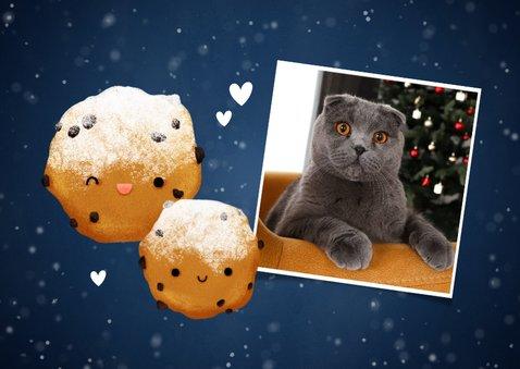 Lieve nieuwjaarskaart Hé Oliebol met foto's en oliebol 2