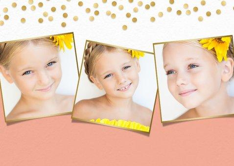 Lieve stijlvolle communiekaart meisje met gouden confetti 2
