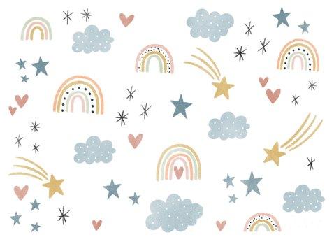 Lieve uitnodiging eerste verjaardag regenboogjes en hartjes Achterkant