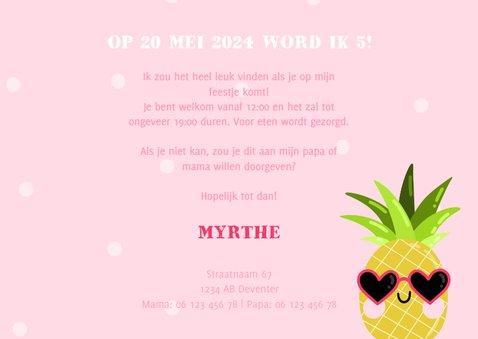 Lieve uitnodiging kinderfeestje ananas met zonnebril 3