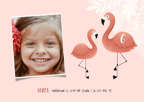 Lieve uitnodiging kinderfeestje flamingo, bladeren en foto 2