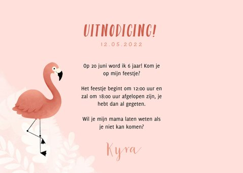 Lieve uitnodiging kinderfeestje flamingo, bladeren en foto 3