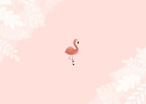 Lieve uitnodiging kinderfeestje flamingo, bladeren en foto Achterkant