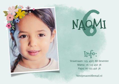 Lieve uitnodiging kinderfeestje met eenhoorn, bloemen & foto 2